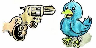 Great pic from TechDust.com! Although, I guess, the bird should have the gun if you think Twitter is risky