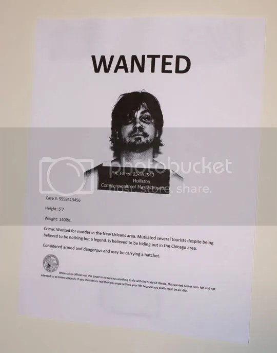 The Adam Green wanted poster.