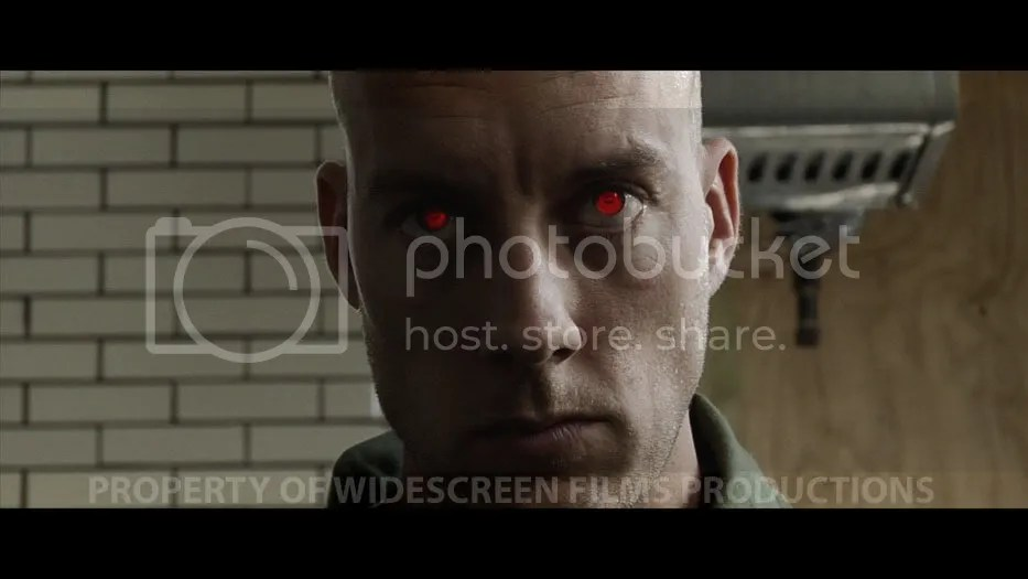 Rough test. Eyes were motion tracked and the red glow added. Plus color corrected and widescreen matte added.