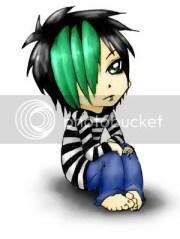 chibi emo green hair