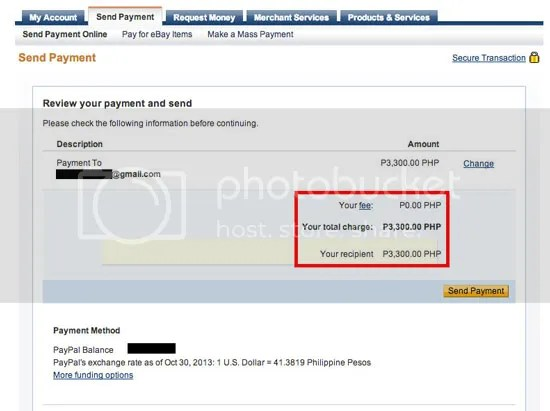 How to send payment on Paypal without charge