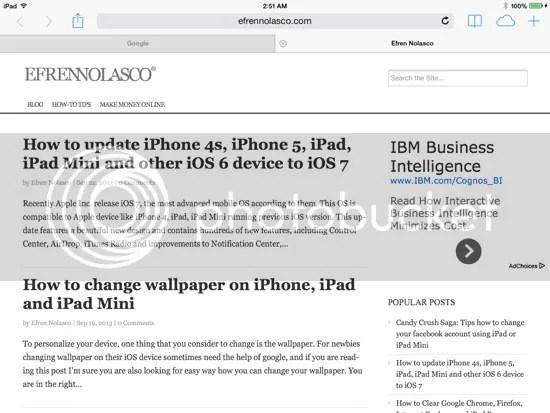 iOS 7 on iPad Mini