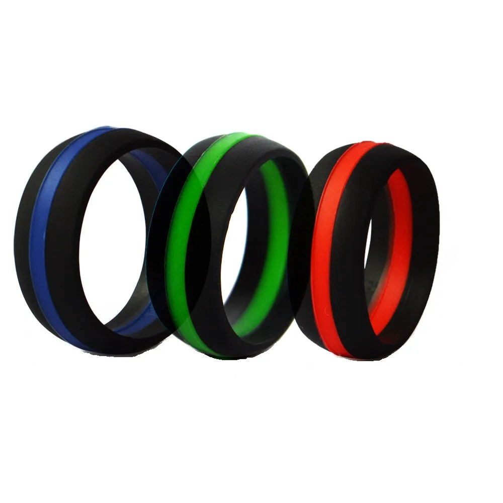 Striped Silicone Wedding Ring Band Thin Line In Red Green