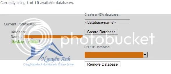 Điền tên CSDL vào ô Make a new database rồi nhấn nút Create Database