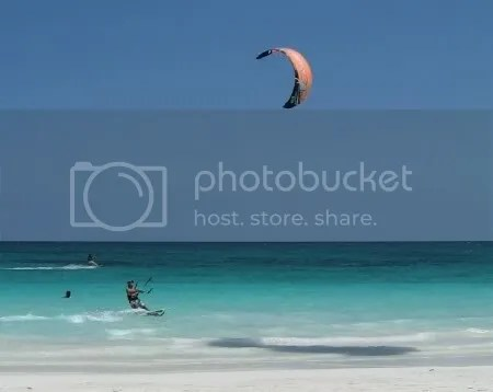 Kiteboarder at El Paraiso Beach,Tulum, Mexico