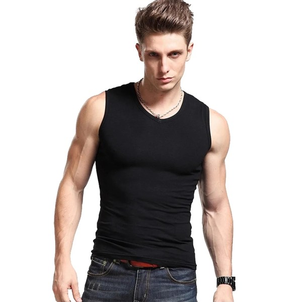 Mens -neck Vest Sleeveless Boy Basic T-shirt Cotton