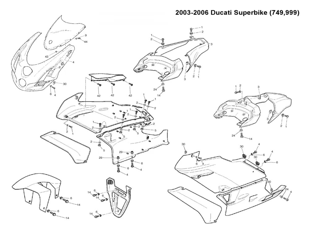 03 04 05 06 Ducati 749 999 Fairing Bolt KIT: bolts, NUTS