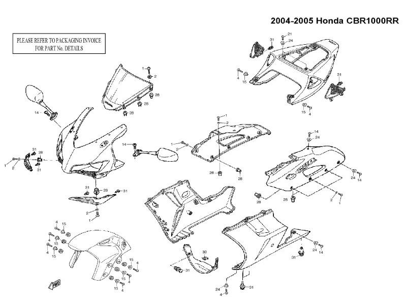 Black Fairing Bolt Kit Body Screws Washer Bolts for Honda