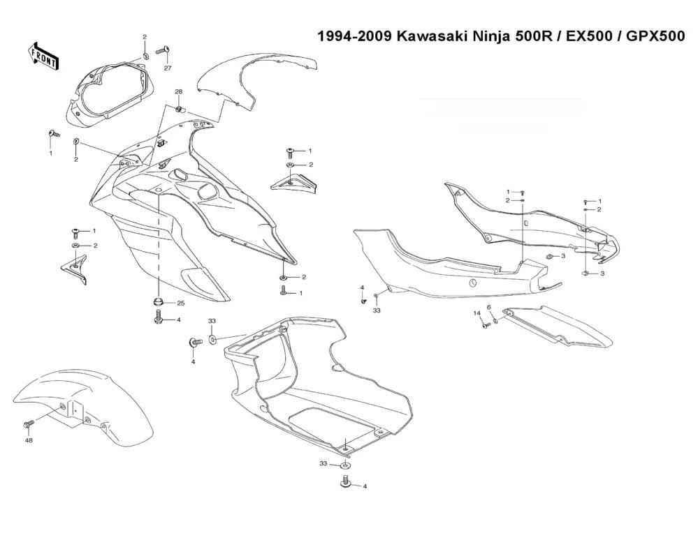 Kawasaki Ninja EX500 BLACK Fairing 500R Fasteners Bolt Kit