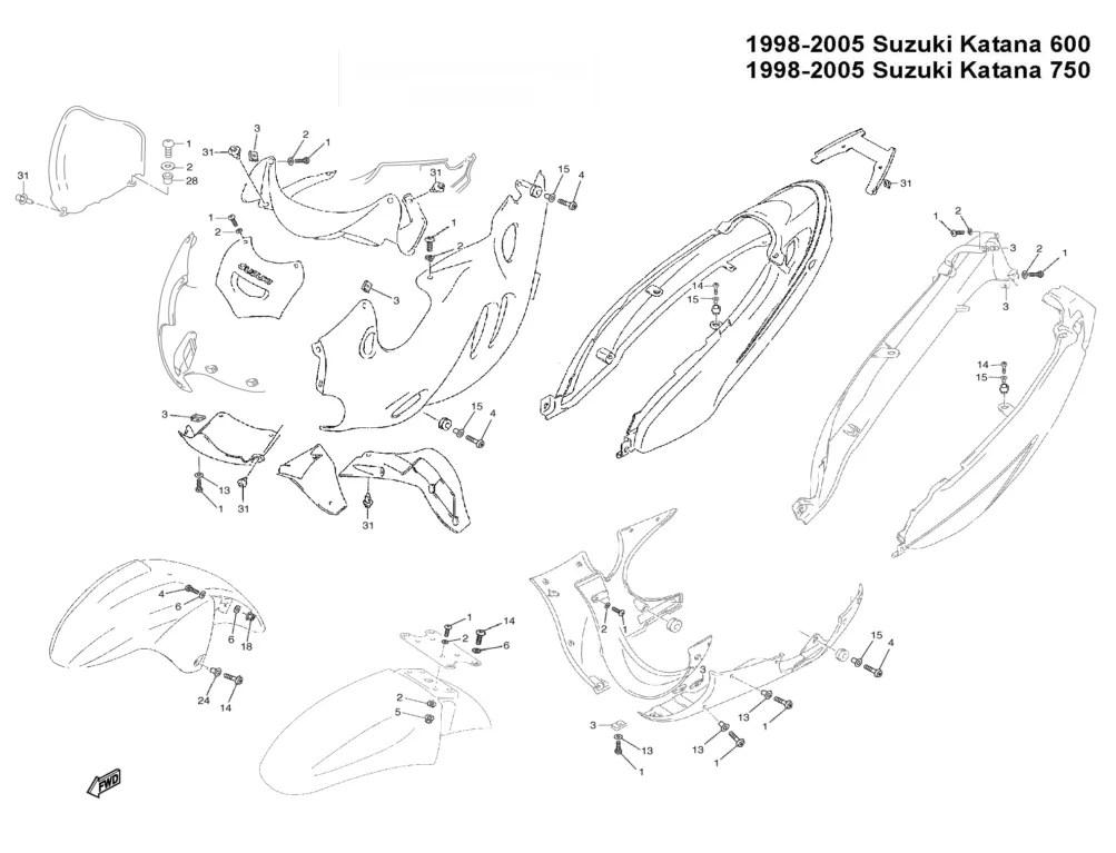 Complete Black Fairing Bolt Kit Body Screws for 98-07