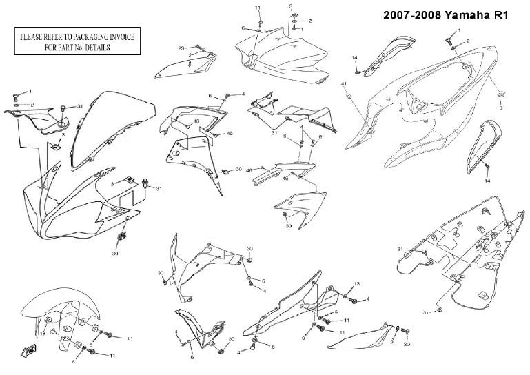 Complete Black Fairing Bolt Kit Body Screws for 2007 2008