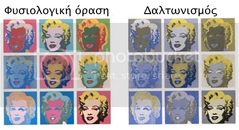 Πώς φαίνεται η Marilyn του Warhol σε έναν υγιή άνθρωπο και σε κάποιον που πάσχει από δαλτωνισμό.