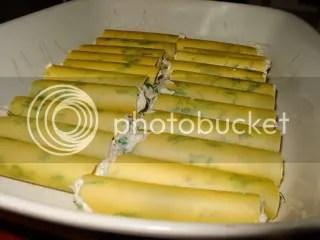 Canelloni com frango, farinheira, ricotta e espinafres