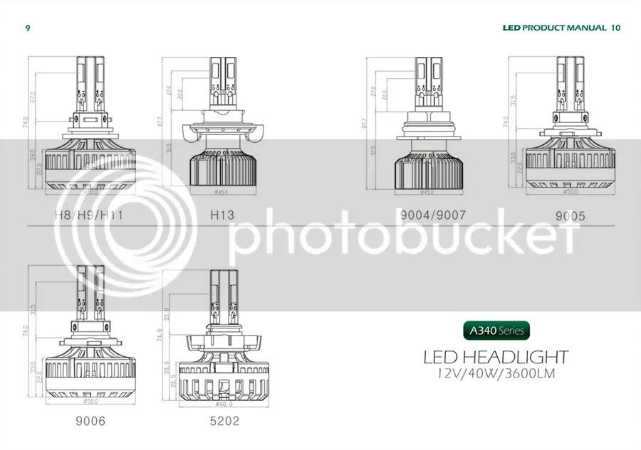 CanBus Error Free H13 40W LED Headlight Kit 6000K Xenon