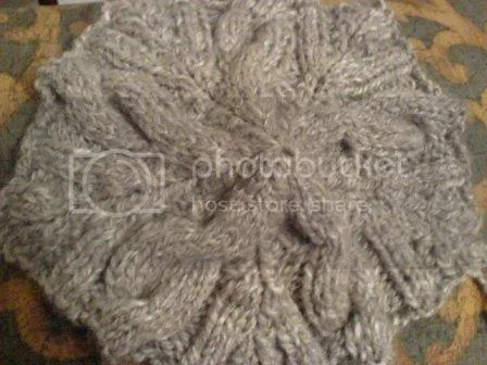 swatch for handspun cable beret
