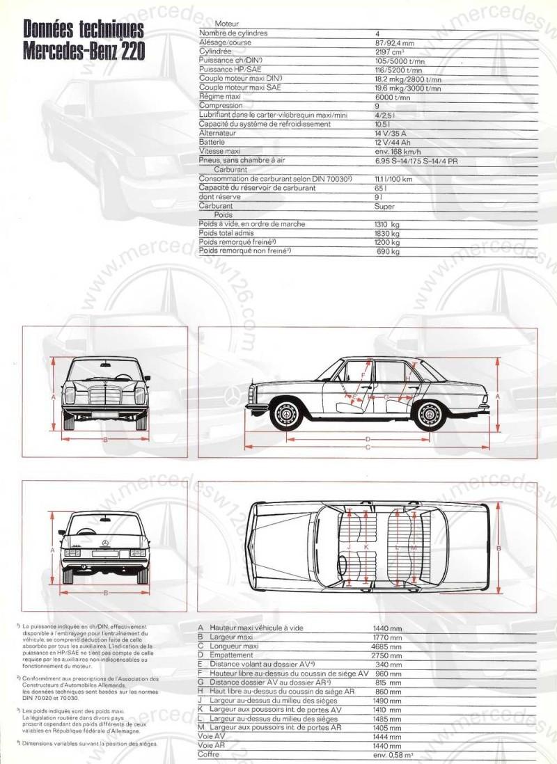 Catalogue de 1968 sur la Mercedes W115 220