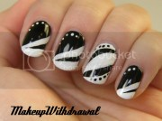 day 7 black and white nails