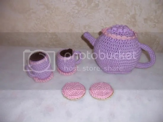 crochet tea set