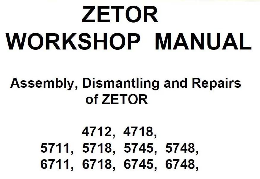 Zetor Tractor 5718, 5745, 5748, 6711, 6718, 6745 6748 Shop