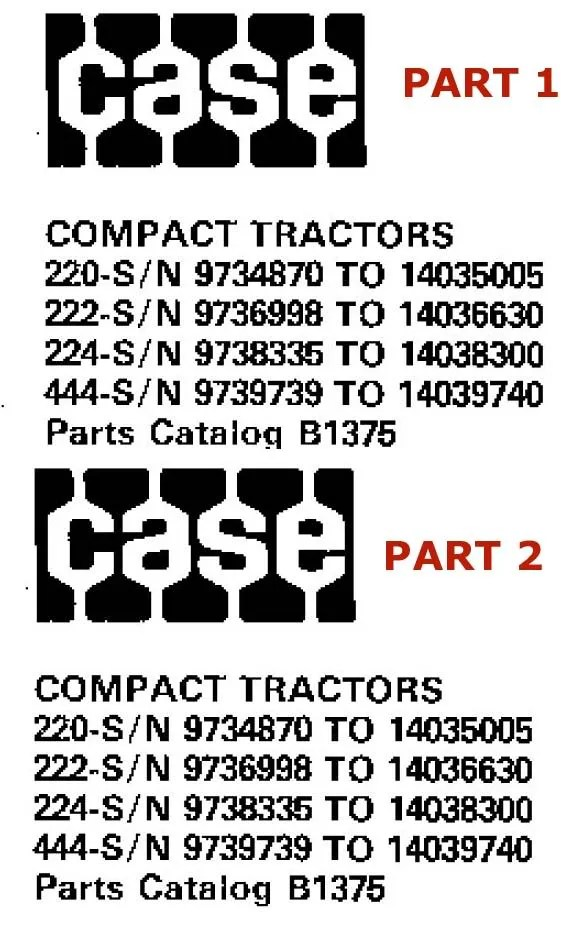 Case Ingersoll Tractors 220 222 224 444 Parts Catalog for sale