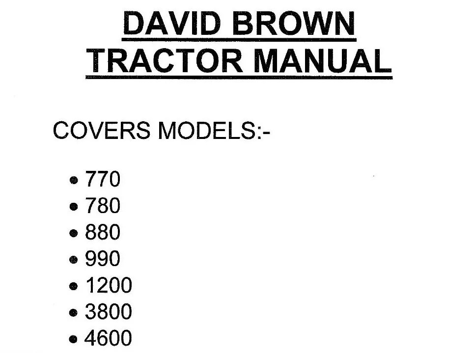 Case David Brown Tractor Service Manual 770 780 880 990