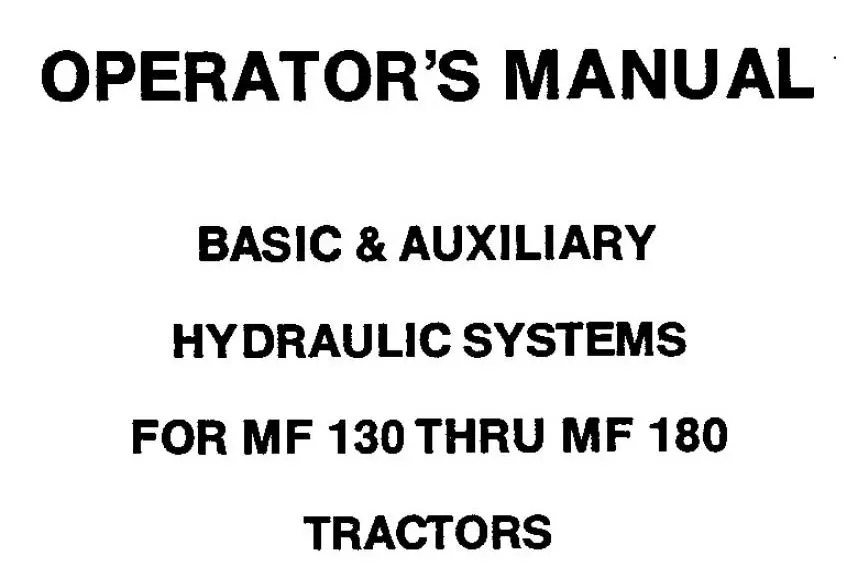 MASSEY 125 130 180 TRACTORS SERVICE OPERATORS MANUAL MF