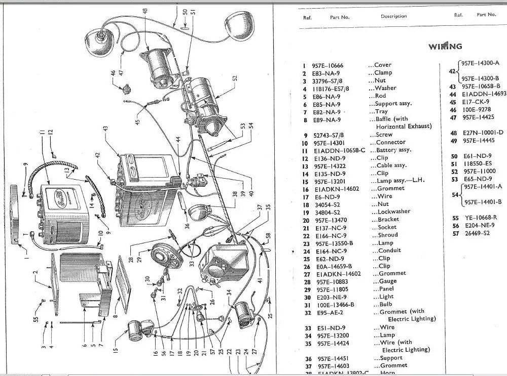 Fordson Dexta & Super Tractor Spare Parts Manuals 1957
