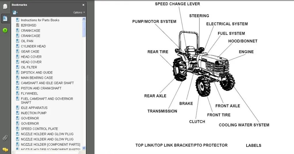 KUBOTA TRACTOR Loader Backhoe Mower Manual Parts B21 BT751