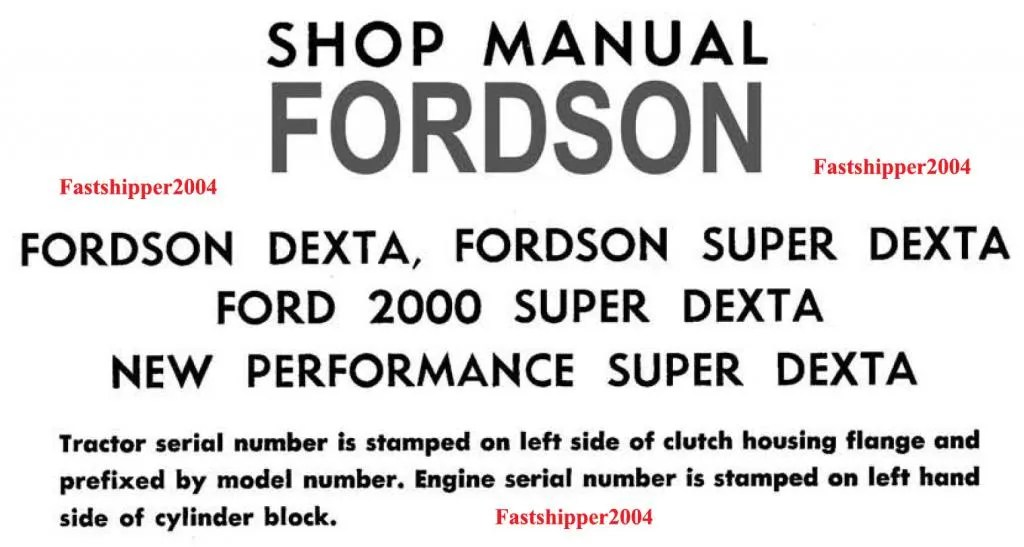 FORDSON SUPER DEXTA 2000 5000 TRACTORS SERVICE MANUAL