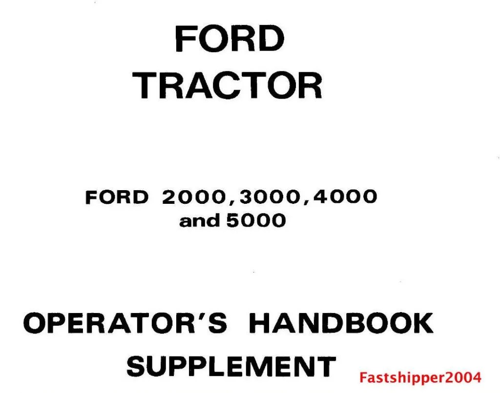 Ford Series Tractor Service Parts Catalog Owners