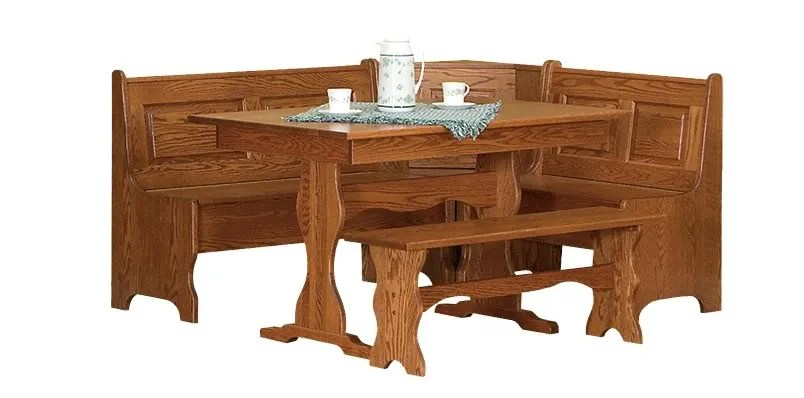 Amish Kitchen Nook Corner Table Set Storage Benches Solid