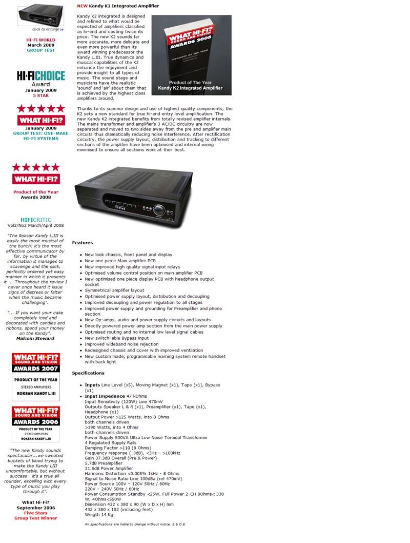 Roksan Kandy K2 integrated amp (New)