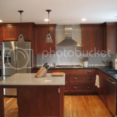 Red Cherry Cabinets Kitchen Black Faucets With White Or Oak Floor