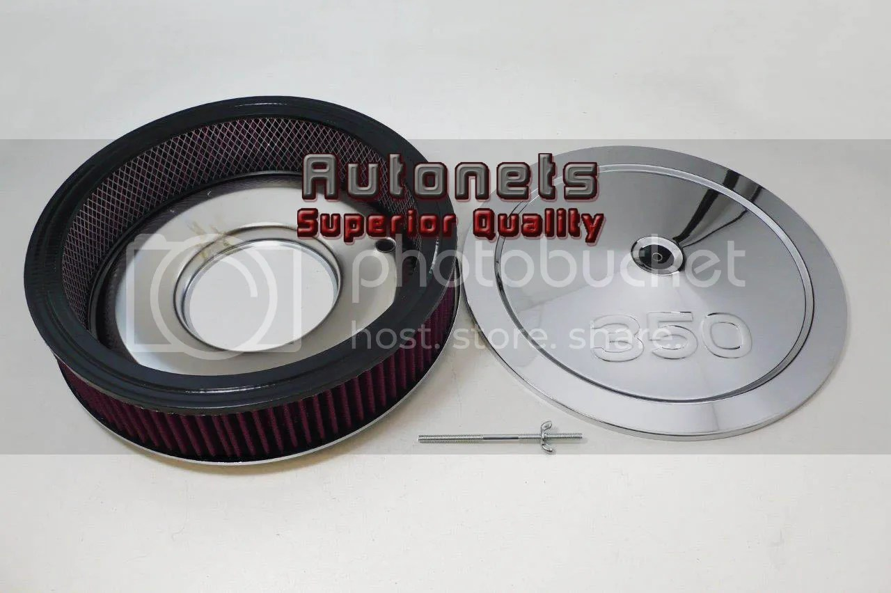 chevy 350 oil filter chromalox baseboard heater wiring diagram 14 quot logo chrome steel air cleaner holley flat