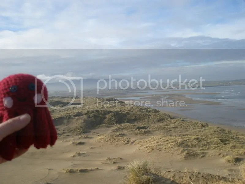 Otto from the top of the sand dune at Strandhill beach.