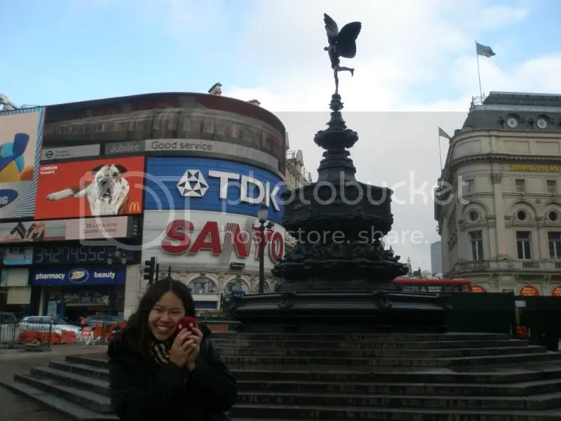 Rachel and Otto in Piccadilly Circus.