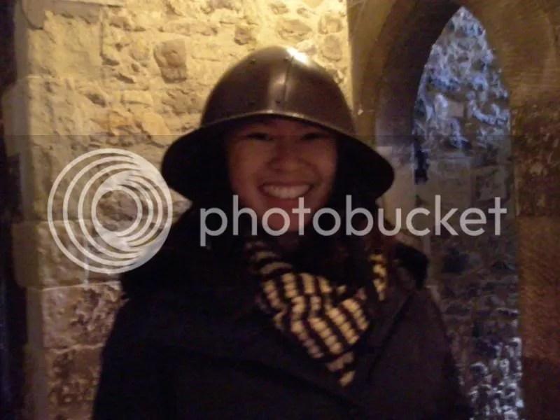 Rachel in a helmet.