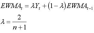 Equation for EWMA