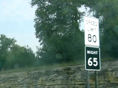 Speed limit signs on the highway