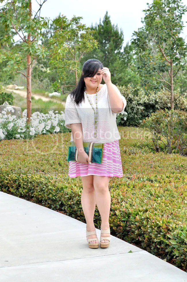 Curvy Girl Chic Plus Size Outfit of the Day pink stripes