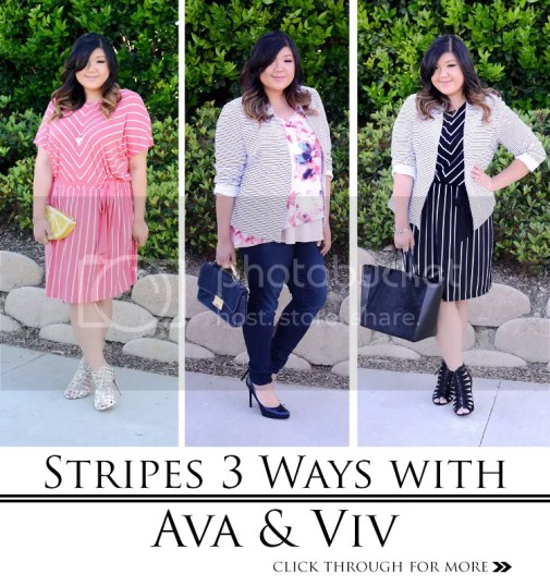 Curvy Girl Chic Plus Size Fashion Blog Target Ava & Viv 3 Striped Outfit Ideas
