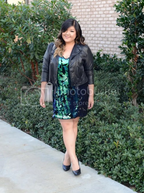 Curvy Girl Chic Plus Size Fashion Blog Forever21+ Sequin Dress Leather Jacket Chanel Boy Bag