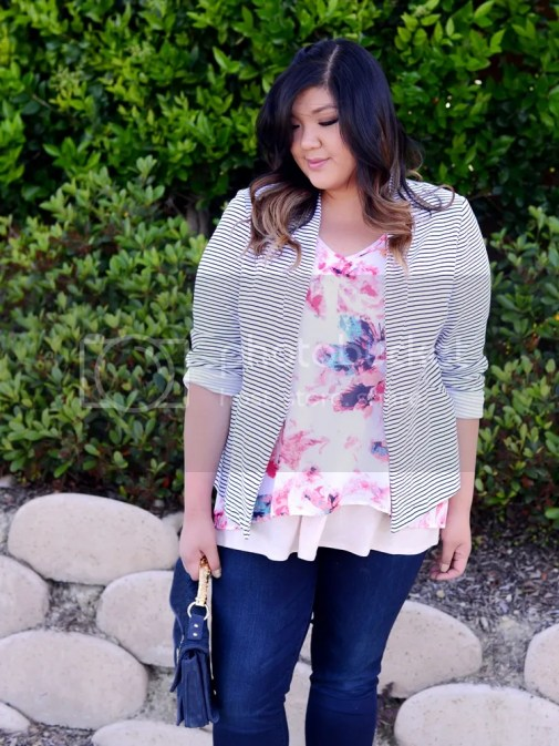 Curvy Girl Chic Plus Size Fashion Blog Target Ava and Viv Striped Outfit Ideas Pattern Mixing Florals and Stripes