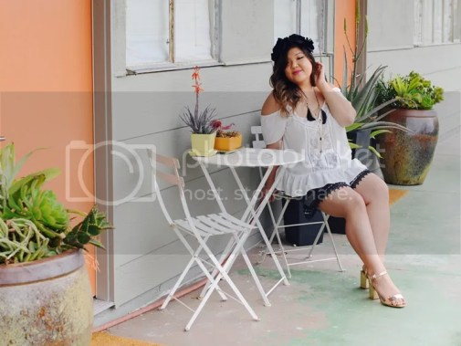 Curvy Girl Chic Plus Size Fashion Blog Coachella Festival Fashion Lookbook Forever 21 Plus Off Shoulder Top and Charlotte Russe Plus Shorts