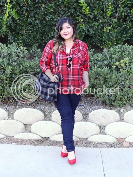 Curvy Girl Chic Plus Size Fashion Blog Target Ava and Viv Maximum Impact Minimum Effort Holiday Looks Red Plaid Casual