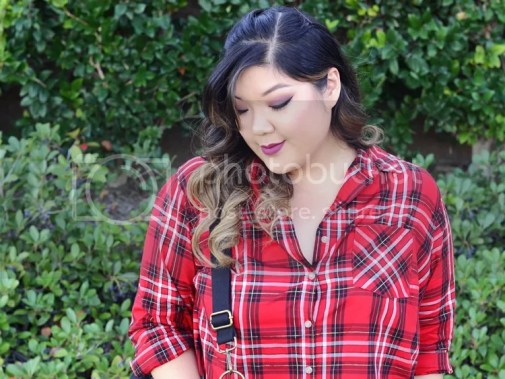 Curvy Girl Chic Plus Size Fashion Blog Target Ava and Viv Maximum Impact Minimum Effort Holiday Looks Red Plaid Shirt Outfit