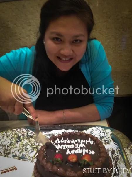 Anniversary cake at Rainbow Steakhouse