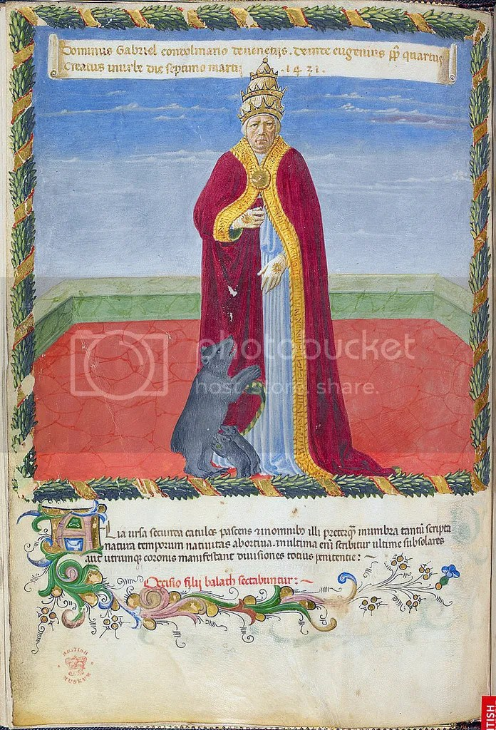 Pope Eugenius IV bVaticinia de Pontificibus Prophecy of the popes London British Library Harley 1340Attributed to Joachim of FioreFlorence, Italy, 2nd quarter of the 15th century