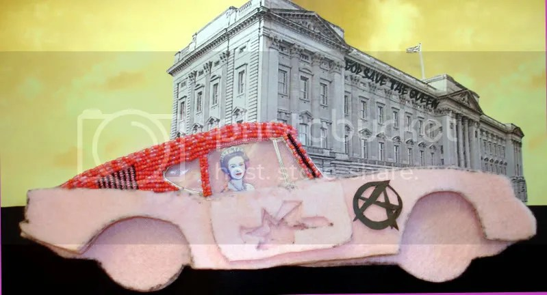 Beaded Banksy Pink Car sex pistols god save the queen beaded pop art Boston artist London