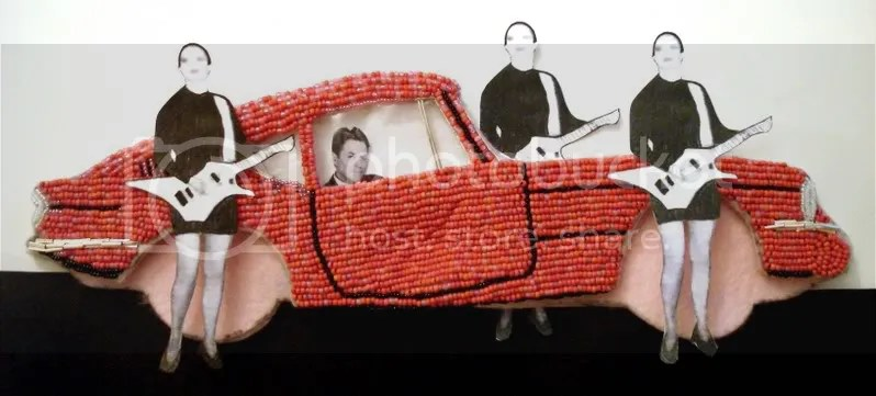 Beaded Banksy pink car Brick Lane London Robert Palmer girls pop art bead embroidery Boston artist